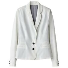 LA REDOUTE LADIES STRIPED SHORT BLAZER WHITE SIZE 10 NEW (ref 385)