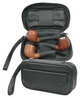 Black Leather Combination 3 Pipes Pipe Bag Case With Tobacco Pouch