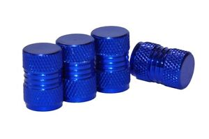 4 x BLUE METAL TYRE VALVE ALLOY DUST CAPS COVER CAR MOTORBIKE BIKE VAN