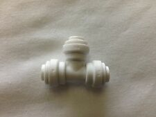 Union Tee White Quick Connector RO DI Fitting Reverse Osmosis 1/4 Inch Outputs