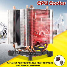 More details for 4pipe cpu single cooler fan led for intel 775 1150 1151 1155 1156 1366 amd meco