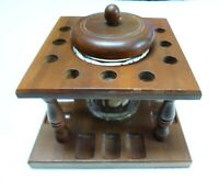 Vintage Aztec Humidor and Wood Pipe Stand