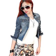 Damen Jeansjacke Damenjacke Denim Westen Jacke Mädchen Tops XS/S Blau Mode