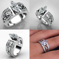 Fashion Wedding Cut White Elegant Sapphire Ring Size 6-10 Marquise Women