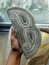 Silver Indian / Pakistani Evening Party / Wedding Clutch