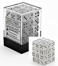 Chessex Dice (36) Block Sets 12mm D6 Frosted Clear / Black Pips 36 Die CHX 27801