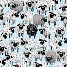 Susybee Allover Print Sheep Ewe Fabric- Lewe The Ewe- Blue Background- Adorable!