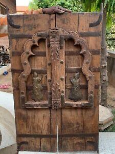 Collectible Handicraft Vintage Wooden Brass Fitted Carved Figurine Window Door