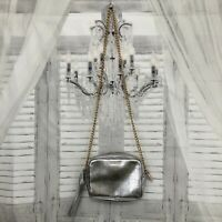 Victoria Secret Silver Crossbody Purse With Long Gold Chain Cocktail Formal D1