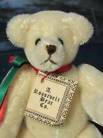 "VINTAGE TEDDY BEAR 7"" WHITE MOHAIR SMALL MINIATURE ROOSEVELT BEAR CO ARTIST 1987"
