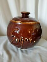 Vintage Hull Sugar Canister Brown Drip Glaze Kitchen Jar with Lid