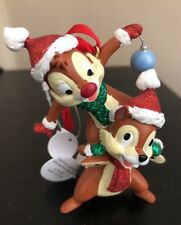 Disney Parks Chip n' Dale Ornament Holiday Glitter Santa Hats Christmas NWT
