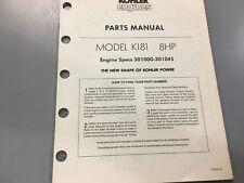 Kohler Illustrated parts manual k181,Kohler