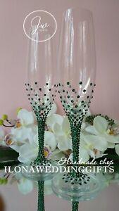 Swarovski Crystal Personalized Wedding Toast Champagne Glass Flute Emerald Green