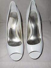 "STYLE&CO ""CELINE"" WHITE OPEN-TOE PLATFORM 4"" STACKED HEELS, 7M, BARELY WORN!"