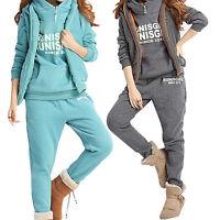 Women Sports Hoodies Coat+Vest+Pants 3pcs Sweat Suit Tracksuit Activewear Jacket