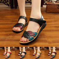 Ladies Fashion Leather Women Sandals Wedges Comfort Big Size Shoes Fitted Summer