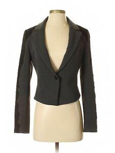 NWT Ann Taylor Gray w/Black Lace Trim Fully Lined Blazer Size 2