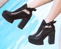 Black Huarache Sandal T.U.K. size 7 retail $177 platform summer cute goth  rare