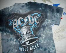 AC/DC Band T-Shirt * HELLS BELLS * Vtg GRAY TYE DYE Concert Tee AC DC Mens : LG