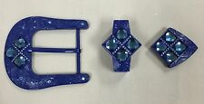 """WESTERN BUCKLE SET 3PCS NAVY WITH MATCHING COLOR STONES 1.5"""" WIDE, BELT BUCKLE"""