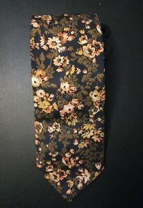 Brand New Vintage Pierre Cardin Tie. Deep & Light Peach Floral on Black