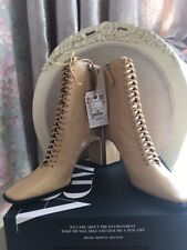 BNWT ZARA CREAM LACE-UP LEATHER HIGH HEEL ANKLE BOOTS SIZE UK6 EUR 39 RRP£95.99