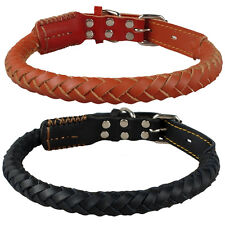 Genuine Braided Leather Dog Collars for Medium Large Dogs Pitbull Boxer 2 Colors