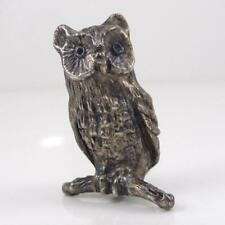 Vtg Sterling Silver 3D Owl Figure Miniature Trinket Doll House Statue Piece LFK3