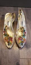Vintage Pensato Heel Gold Leather beaded Sling Back Shoes 1980s size 40