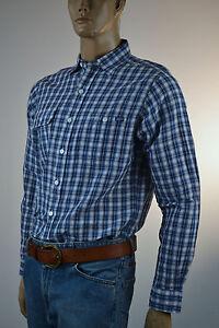 Ralph Lauren Linen Navy Blue & Cream Two Pocket Plaid Long Sleeve Shirt-NWT
