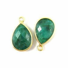 Bezel Gemstone Pendant-Vermeil- Emerald Dyed -Small Teardrop- 10x14mm  (2pcs)