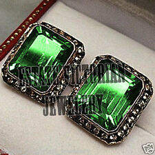 Emerald Studded Silver Earring Jewelry Victorian Style 1.82Cts Rose Cut Diamond