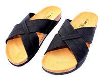 Herren Leder Sandalen Fußbett Sandaletten Kork Bio Pantoletten Leather Sandals