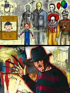Peanuts Freddy Krueger Play Lot of (2) High Quality Posters Jason Vorhees