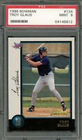 1998 bowman #134 TROY GLAUS california angels rookie card PSA 9
