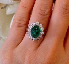 3.37CT Emerald Cabujón & Diamante Anillo En Platino - hm1413