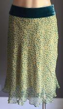 NWOT MOSS & SPY Yellow & Jade Green Polka Dot Knee Length Silk Skirt Size 12