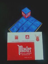 1 BOX ( 12 PIECES ) SKY BLUE MASTER CHALK PACK  - POOL & BILLIARD CUE CHALK