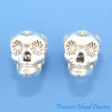Sugar Skull Mexican Calavera .925 Sterling Silver Stud Post Earrings MADE IN USA