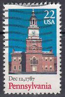 USA Briefmarke gestempelt 22c Pennsylvania Dec 12 1787 Kirche / 357