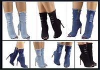 Womens Ladies Denim Peeptoe Ankle Boots Stiletto High Heels Long Mid Calf New UK