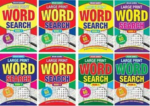 1-8 NEW A4 Size Word Search Puzzle Books Large Print 60 Puzzles per Book