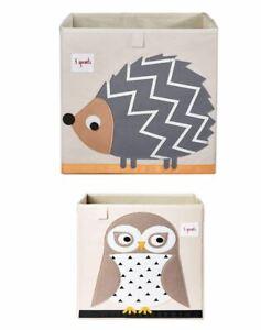 3 Sprouts Children's Fabric Storage Cube Box Soft Toy Bin Pet Hedgehog & Owl