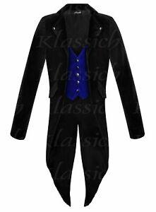 Men Steampunk Tailcoat Jacket Velvet  Vest Gothic Victorian Coat VTG