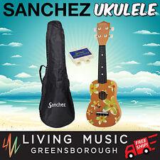 New Sanchez Hawaiian Yellow Floral Soprano Uke Ukulele Pack for Beginner