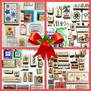 142 Rubber Stamps Christmas Holidays Animals Card Making Gifts Resale Journaling