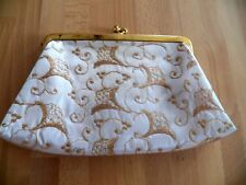Vintage 1960's Snap Kiss Closure Clutch Plastic Coated Sparkling Gold Great Cond