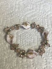 Glass Silver Tone Jewelry Bp-54 Hand Crafted Bracelet Pink Crystal