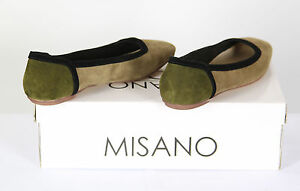 Womens Misano Olive Light Brown Beige Suede Ladies Slip On Flat Pump Slide Shoes